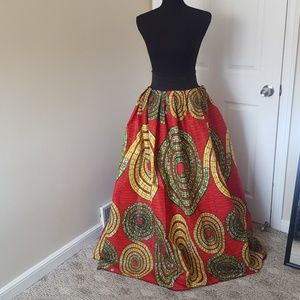 African Ankara Print Maxi Hi Waist Skirt
